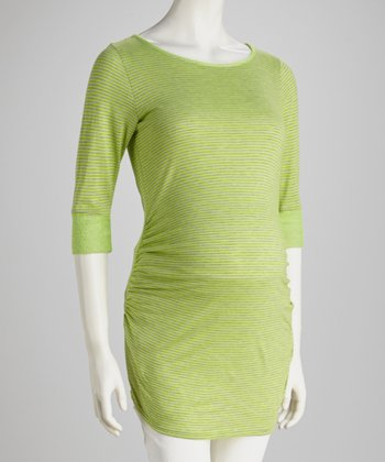 Lime & Gray Stripe Three-Quarter Sleeve Maternity Tunic