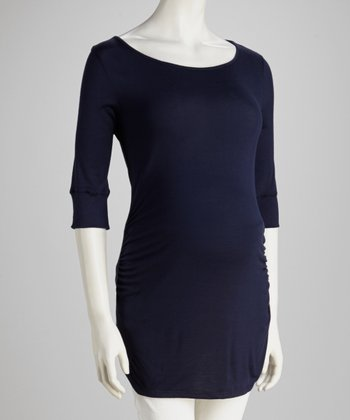 Navy Three-Quarter Sleeve Maternity Tunic