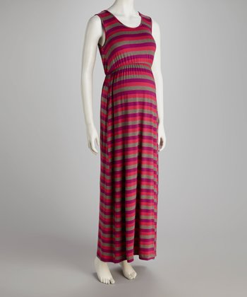 Purple & Fuchsia Stripe Scoop Neck Maternity Maxi Dress - Women