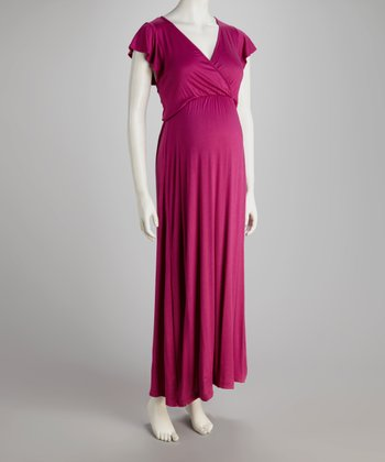 Berry Angel-Sleeve Maternity Maxi Dress