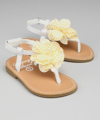 White & Yellow Dot Flower Sandal