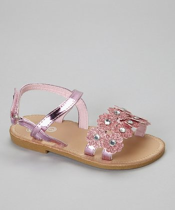 Light Pink Glitter Flower Sandal