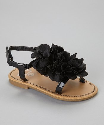 Black Double Flower Sandal