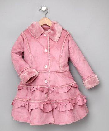 Pink Tiered Faux-Fur Coat -Toddler & Girls