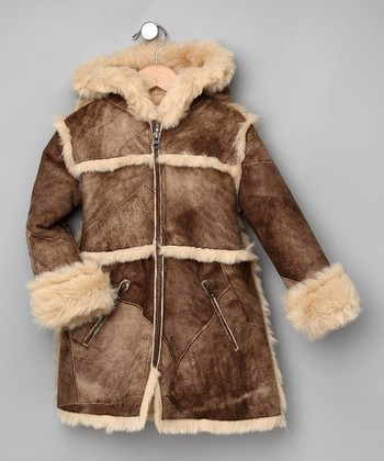 Brown Faux-Fur Pyramid Hooded Coat - Girls