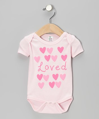 Pink 'Loved' Hearts Bodysuit - Infant