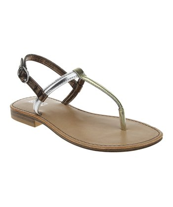 Gold & Silver Color Block Sandal
