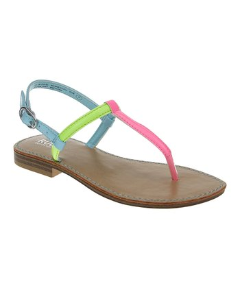 Dazzling Neon Pink & Green Color Block Sandal