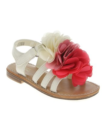 Vanilla & Red Chiffon Bloom Sandal