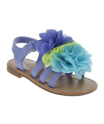 Periwinkle Blue & Green Chiffon Bloom Sandal
