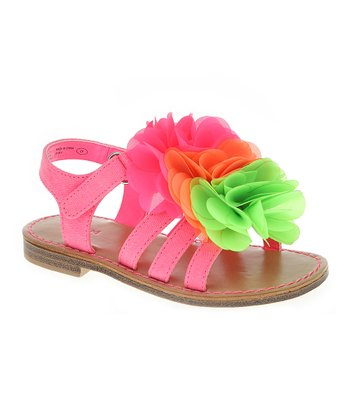 Neon Rose & Green Chiffon Bloom Sandal