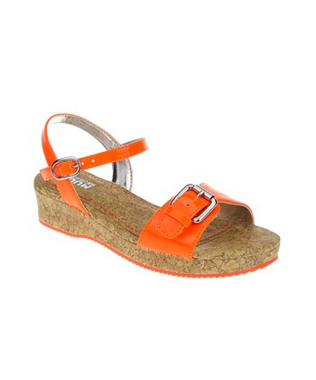 Neon Orange Buckle Patent Wedge Sandal