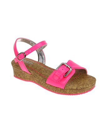 Neon Rose Buckle Patent Wedge Sandal