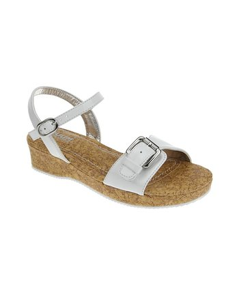 White Buckle Patent Wedge Sandal