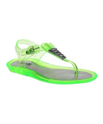 Neon Lime Jewel Jelly Sandal