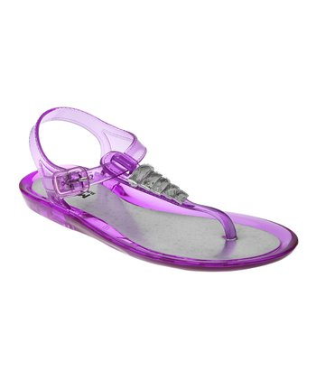 Magenta Purple Jewel Jelly Sandal