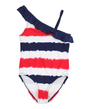 Deep Navy & Red Stripe One-Piece - Girls