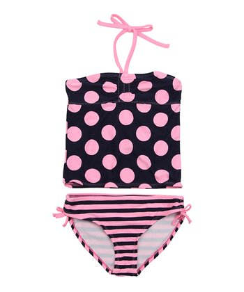 Deep Navy & Pink Polka Dot Tankini - Girls