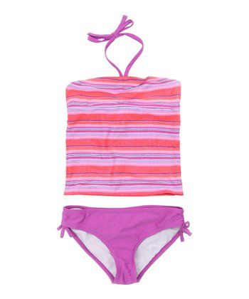 Magenta Purple Stripe Tankini - Girls