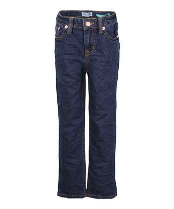 Dark Rinse Wash Straight-Leg Jeans