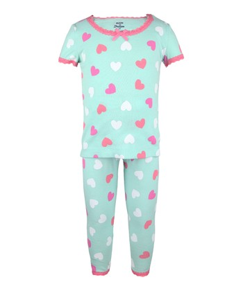 Teal & Rose Heart Pajama Set - Toddler & Girls