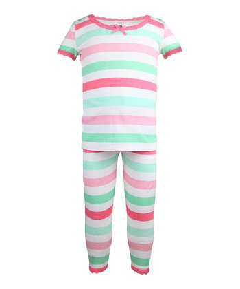 Mint & Rose Stripe Pajama Set - Toddler & Girls