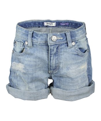 Sydney Wash Denim Cuffed Shorts - Girls