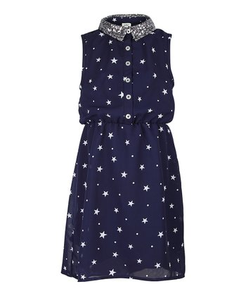 Deep Navy Sequin Star Dress - Girls