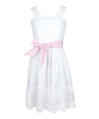 White Eyelet Dress - Girls