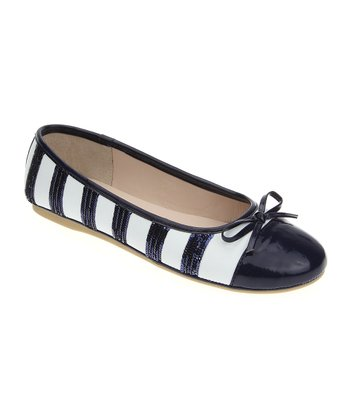 White & Navy Stripe Ballet Flat