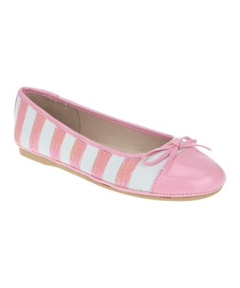 White & Bubblegum Stripe Ballet Flat