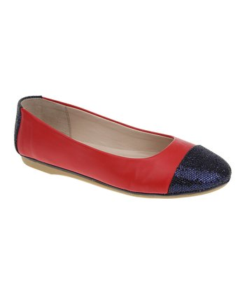 Red & Navy Glitter Toe-Cap Flat