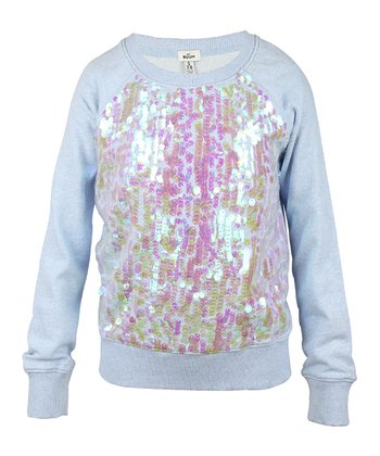 Surf Blue Sequin Sweatshirt - Girls