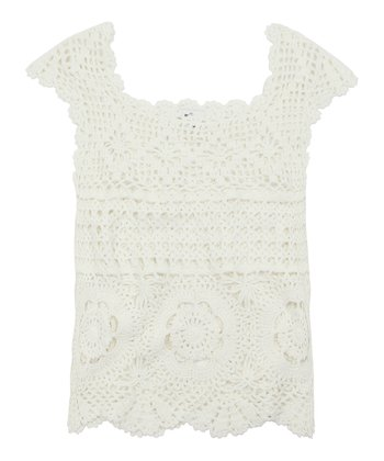 Chic Cream Crochet Sweater Tank - Girls