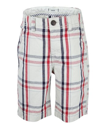 Chic Cream Plaid Chino Shorts - Boys