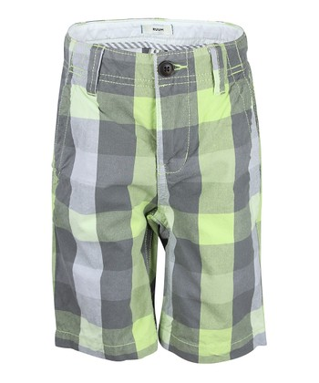 Glistening Plaid Chino Shorts - Boys