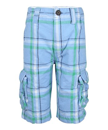 Sailing Blue Plaid Cargo Shorts - Boys