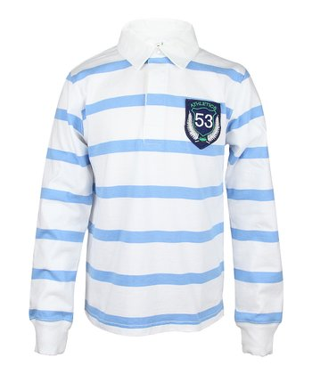 Sailing Blue Stripe Rugby Polo - Boys