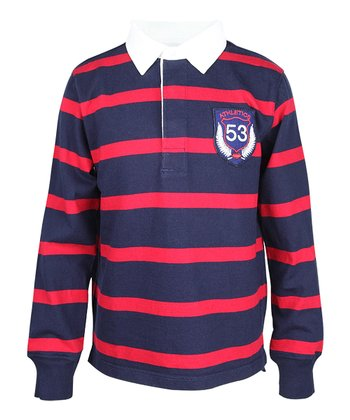 Navy & Red Stripe Rugby Polo - Boys