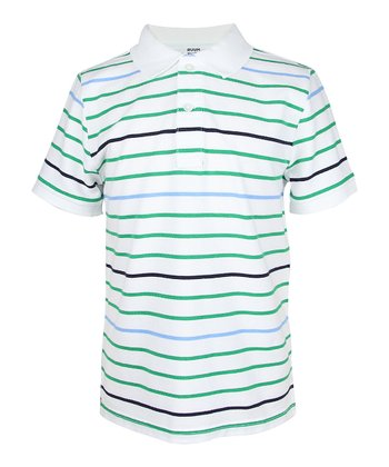 Green Crush & White Stripe Polo - Boys
