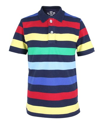Deep Navy Stripe Polo - Boys