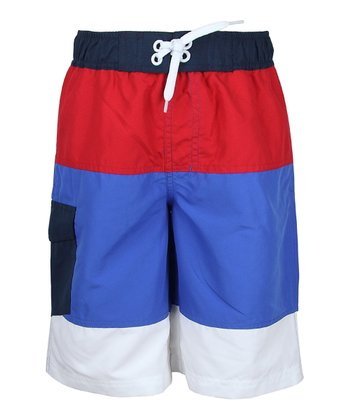 Royal Blue Color Block Boardshorts - Boys