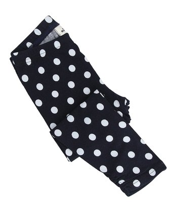 Deep Navy Polka Dot Leggings - Infant, Toddler & Girls
