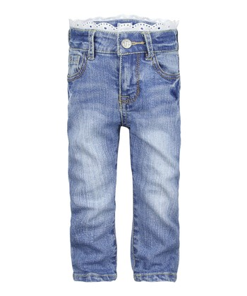 Powder Blue Wash Lace Relaxed Fit Jeans - Infant & Toddler