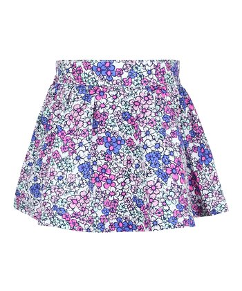 White & Blue Floral Skirt - Infant, Toddler & Girls