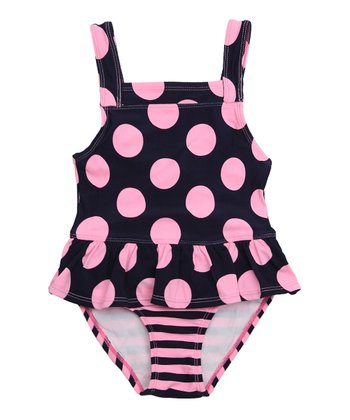 Deep Navy Polka Dot Skirted One-Piece - Infant & Toddler