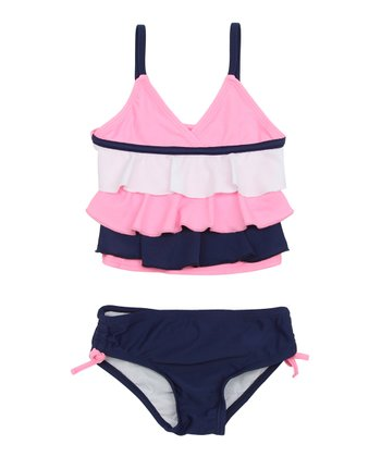 Deep Navy & Pink Ruffle Bikini - Infant & Toddler