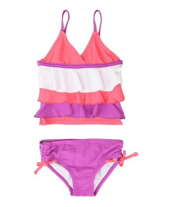 Magenta & Purple Ruffle Bikini - Infant & Toddler