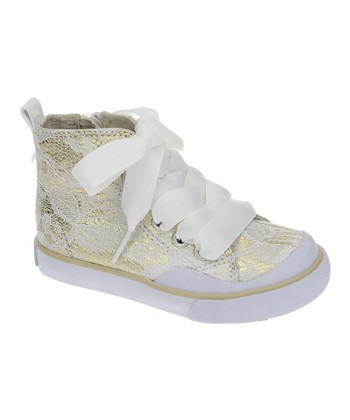 Gold Lace Hi-Top Sneaker