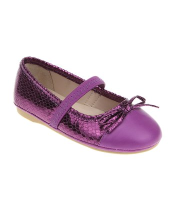 Magenta Purple Metallic Strap Flat